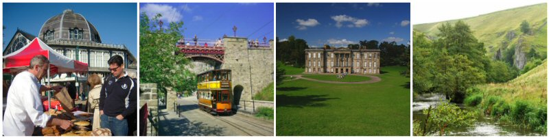 Pavilion Gardens, Buxton, Crich Tramway Museum, Calke Abbey - photo by Gillian Day/National Trust, Nearby Dovedale